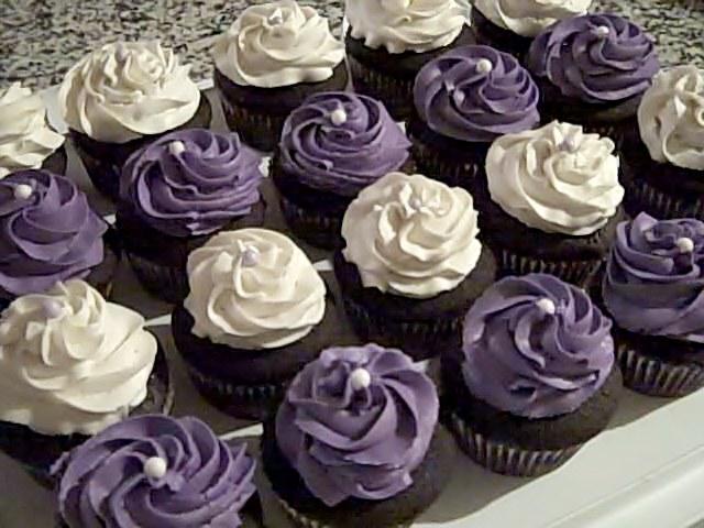 Purple & White cupcakes