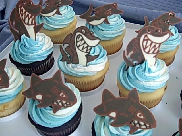 Shark cupcakes closeup
