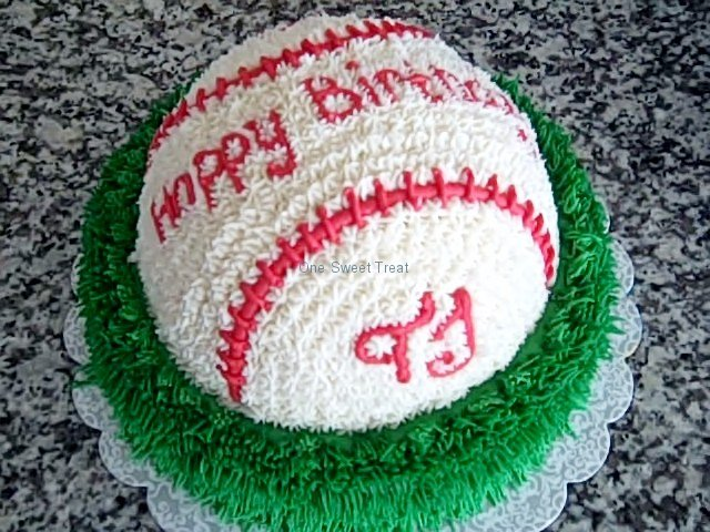 baseball on grass shower cake
