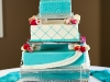 white on turquoise wedding cake