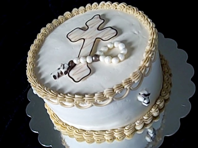 Cross with Rosary First Communion Cakes