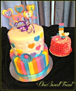 Whimsical cake with smash cake 2