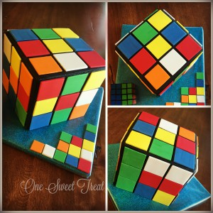 Rubix Cube Cake Collage