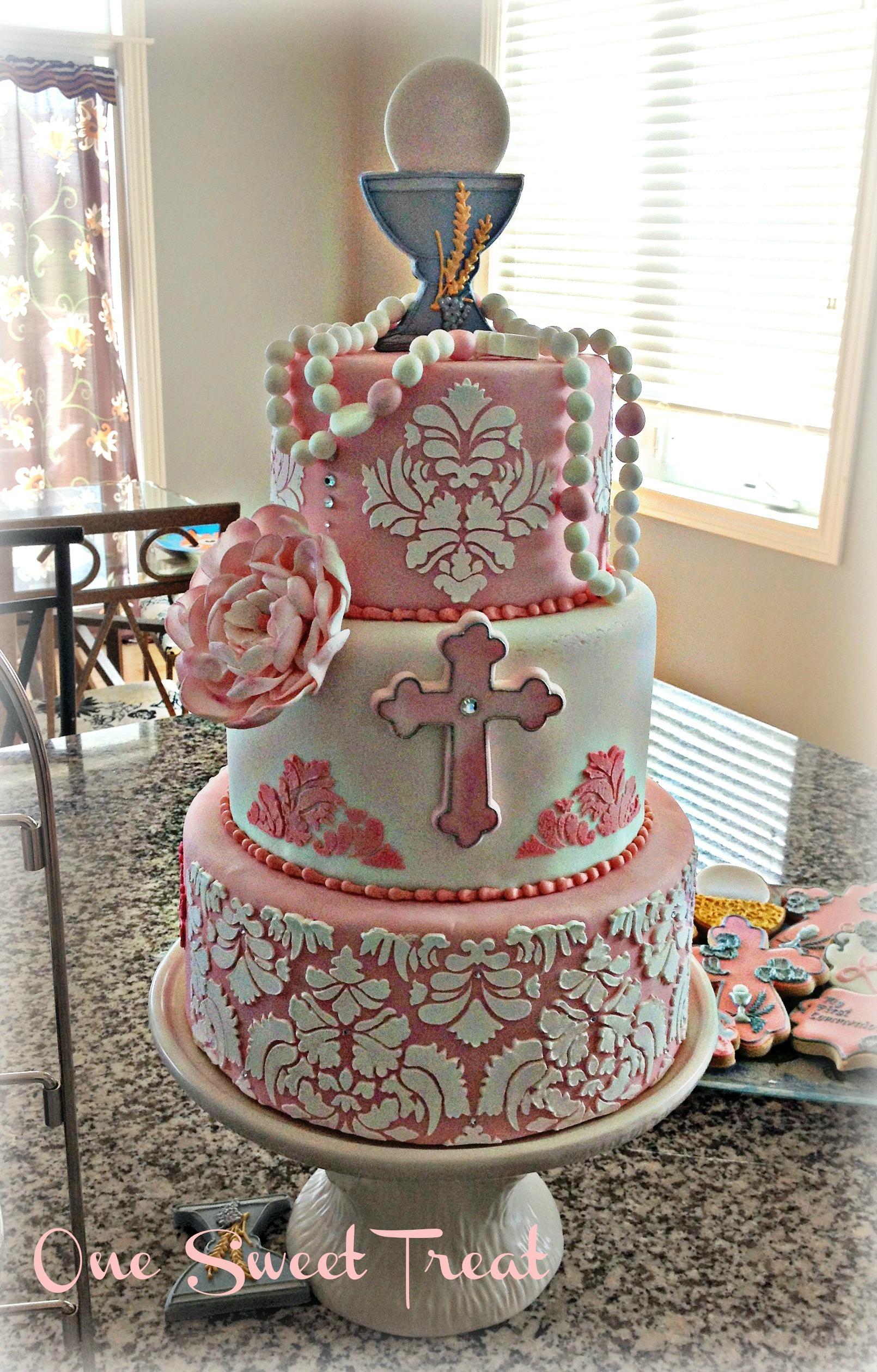 Damask Communion Cake IMG_5823