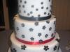 White Wedding Cake with Black flowers