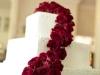 White Cake with Casdade of Roses